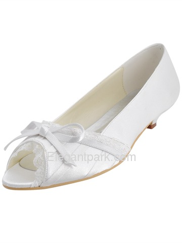 Elegantpark Peep Toe Bowknot Kitten Heel Satin Wedding Bridal Shoes (EL10009)