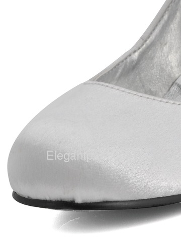 Elegantpark White Round Toes Stiletto Heel Satin Shoes (EL10011)