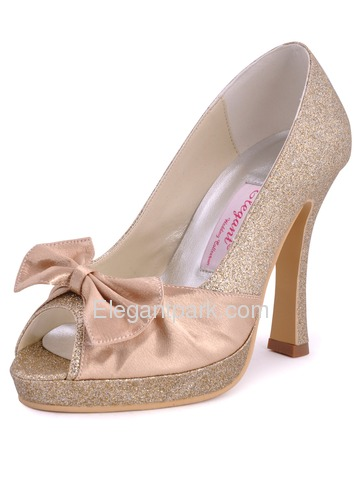 Elegantpark Ivory Elegant Platforms Stiletto Heel Glitter PU Wedding Evening Shoes (EL10016-PF)