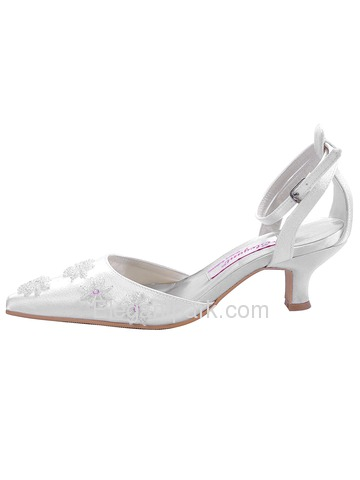 Elegantpark Ivory Closed Toe Chunky Heel Satin Shoes (EL-038)