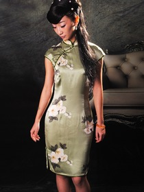 Hunter Mandarin Collar Cap Sleeves Silk Satin Single-Line Botton Knee Length Cheongsam