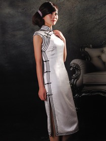 White Mandarin Collar Single-Line Botton Cap Sleeve Silk Satin Knee-length Cheongsam