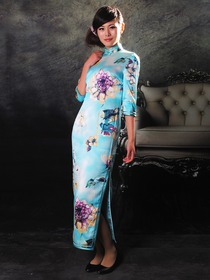 Light Sky Blue Mandarin Collar Single-Line Botton Three Quarter Sleeve Tea Length Cheongsam
