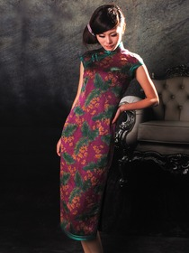 Mandarin Collar Silk Doupion Single-Line Botton Knee Length Cheongsam