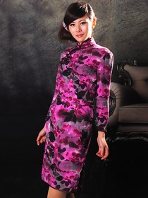 Fuchsia & Grape Mandarin Collar Silk Satin Long Sleeve Single-Line Botton Cocktail Length Cheongsam