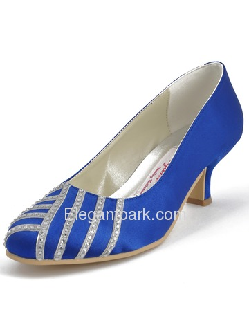 Elegantpark Blue Satin Closed Toe Stiletto Heel Party Shoes (EP11007)