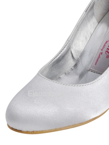 Elegantpark White Round Toe Pump Spool Heel Satin Evening Party Wedding Shoes (A2000B)