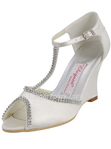Elegantpark Open Toe Wedge Beading Buckle Satin Wedding & Party Shoes (EP11086)