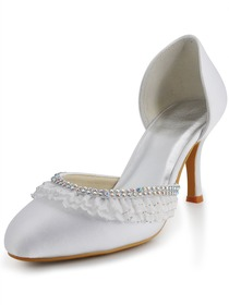 Elegantpark Satin Closed Toe Stiletto Heel/Pumps Rhinestones Bridal Shoes