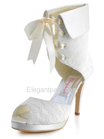 Elegantpark Satin Stiletto Lace Peep Toe Heel Pumps With Platform Wedding Ankle Boots (EP11055-PF)