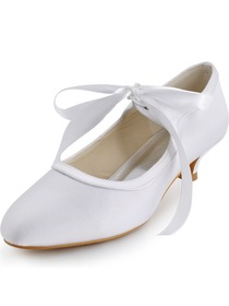 Elegantpark White Almond Toe Ribbon Chunky Heel Satin Bridal Prom Shoes
