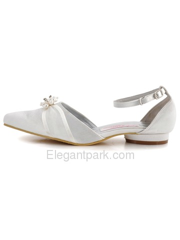 Satin Pumps Round Low Heel Pearl Buckle Ribbon Tie Modern Wedding Bridal Shoes (A711L)
