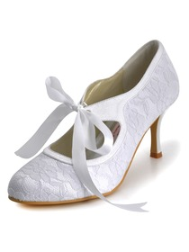 Elegantpark White Almond Toe Stiletto Heel Lace Bridal Wedding Party Shoes