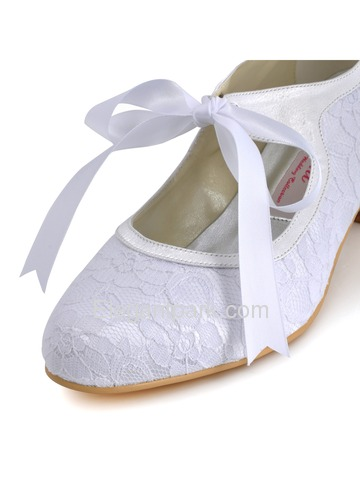 Elegantpark Lovely Round Toes Kitten Heel Lace And Satin Wedding Bridal Shoes (EP1073)
