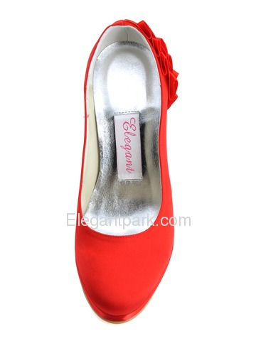 Elegantpark Red Satin Pointy Toes Stiletto Heel Party Shoes (EP11006-PF)