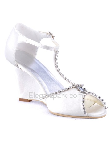 Elegantpark Stylish Satin Open Toe Wedge Heel Evening Shoes (MC-032)