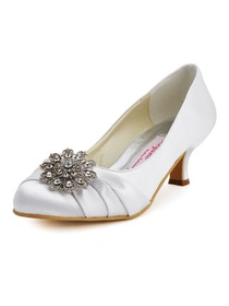 Elegantpark White Almond Toe Chunky Heel Satin Rhinestones Wedding Party Shoes