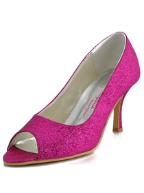 Elegantpark Purple Peep Toe Pumps Spool Heel Glitter Wedding Bridal Shoes