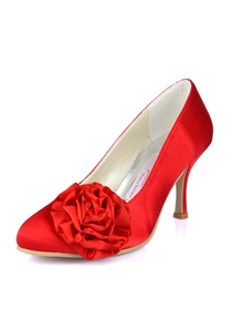Elegantpark Red Stiletto Heel Satin Evening & Party Prom Shoes