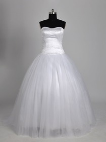 White Ball Gown Strapless Sweetheart Beading Sweep Train Netting Wedding Bridal Dress