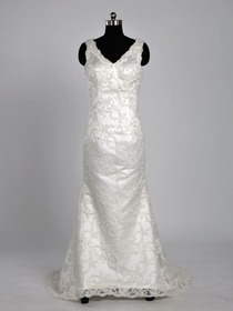 Elegant Ivory Fit and Flare V Neck Sweep Train Lace Wedding Bridal Gown