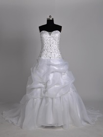 White Ball Gown Sweetheart Pick Up Court Train Organza Wedding Bridal Dress
