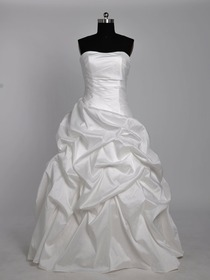 White Ball Gown Pick Up Ruched Strapless Floor-Length Taffeta Wedding Dress