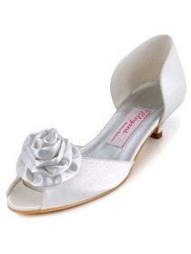 Elegantpark White Peep Toe Flower Low Heel Satin Wedding Evening Party Shoes