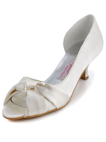 Elegantpark Ivory Satin Bowknot Low Heel Wedding/Evening Shoes