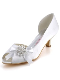 Elegantpark White Peep Toe Chunky Heel Satin Beading Evening & Party Shoes