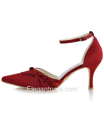Elegantpark Satin Upper Pointy Toes Stiletto Heel Bowknot Elegant Evening Shoes (AF006A)