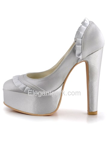 Elegantpark Silver Platforms Satin Stiletto Heel Evening & Party Shoes (EL-041-PF)