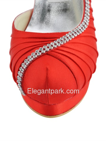 Elegantpark Red Almond Toe Rhinestones Stiletto Heel Platforms Evening Party Shoes (EP11064C-IPF)