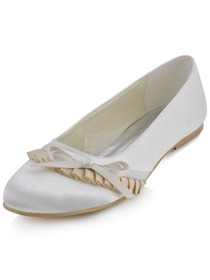 Elegantpark Ivory Comfortable Round Toe Flat Heel Bow Ruffles Satin Wedding Bridal Shoes