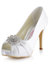 Elegantpark White Peep Toe Rhinestones Stiletto Heel Platform Satin Wedding Evening Party Shoes