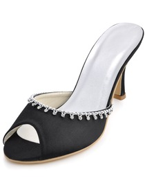 Elegantpark Black Peep Toe Stiletto Heel Satin Slippers with Rhinestones