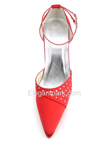 Elegantpark Red Pointy Toe Stiletto Heel Rhinestones Satin Wedding Party Shoes with Buckle (EP2065)