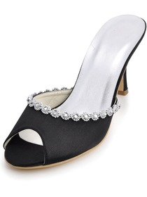 Elegantpark Black Peep Toe Stiletto Heel Satin Rhinestones Slippers