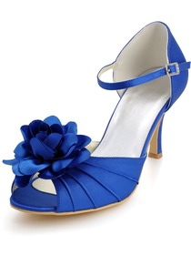 Elegantpark Blue Peep Toes Stiletto Heel Flowers Pleats Evening Wedding Party Shoes