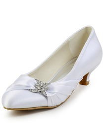 Elegantpark Almond Toe Low Heel Rhinestones Satin Wedding Evening Party Shoes