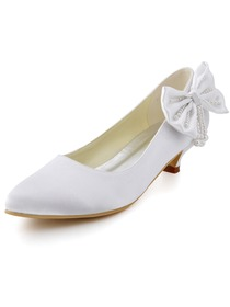Elegantpark White Almond Toe Low Heel Bowknot Pearls Satin Wedding Evening Party Shoes