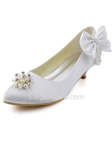 Elegantpark Beautiful White Almond Toe Low Heel Rhinestones Bow Satin Wedding Evening Pumps (EP2085)