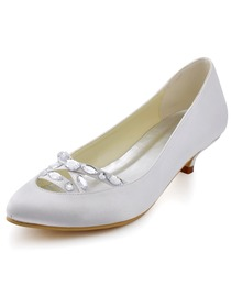 Elegantpark White Almond Toe Crystals Cross Straps Low Heel Wedding Bridal Shoes