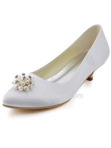 Elegant Almond Toe Low Heel Rhinestone Pearls Satin Wedding Evening Party Shoes (EP2087)