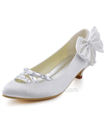 Elegantpark White Almond Toe Crystal Pearl Bow Low Heel Satin Bridal Party Pumps (EP2088)