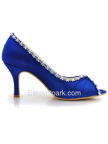 elegantpark royal blue peep toe rhinestone pleat satin