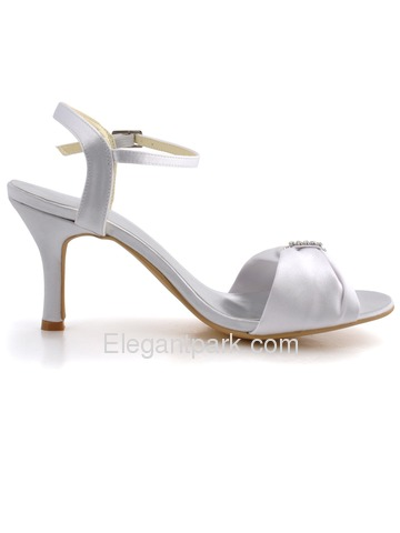 Elegantpark White Open Toe Rhinestone Slingback Spool Heel Satin Wedding Bridal Sandals (EP2103)