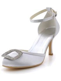 Elegantpark White Almond Toe Rhinestone Buckle Stiletto Heel Satin Wedding Evening Party Shoes