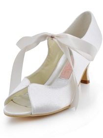 Elegantpark Peep Toe White Mary Jane Mid Heels Wedding Bridal Shoes Pumps