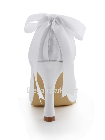 Elegantpark White Round Toes Stiletto Heel Satin Buckle Bridal Prom Shoes (A0617-C)